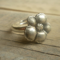 Silver Pansy Ring