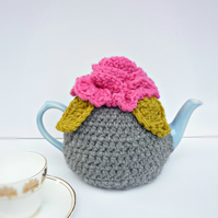 Novelty Blooming Flower Crochet  Tea Cosie Pink and Grey Handmade Cosy