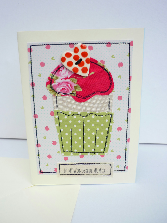 Handmade special occasion card keepsake birthda folksy handmade special occasion card keepsake birthday fabric applique mum mothers day m4hsunfo