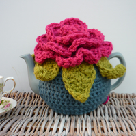Novelty Tea Cosy with Large Blooming Crochet Flower On Top Granny Chic