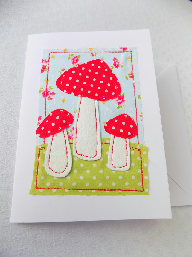 Toadstool greeting card raw edge free motion em folksy toadstool greeting card raw edge free motion embroidery applique stitched fabric m4hsunfo