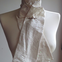 Handmade 100% silk shaped-to-tie stock - white with sequin and bead flowers