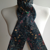 Handmade 100% Liberty Wild Flowers on dark green tana lawn shaped to tie stock