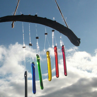 Glass rainbow wind chimes