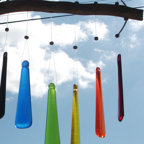 Glass rainbow windchimes