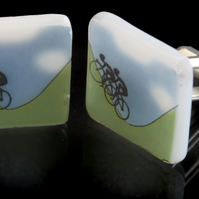 Cyclist cuff links celebrating Tour de France