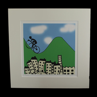 Pennine cyclists print - inspired by Tour de Yorkshire - France