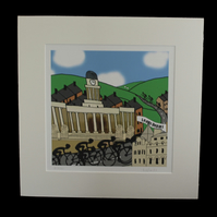 Leeds cyclists print - inspired by Tour de Yorkshire - France