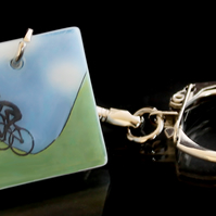 Yorkshire cyclists keyring celebrating Tour de France
