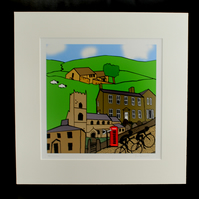 Haworth cyclists print - inspired by Tour de Yorkshire - France