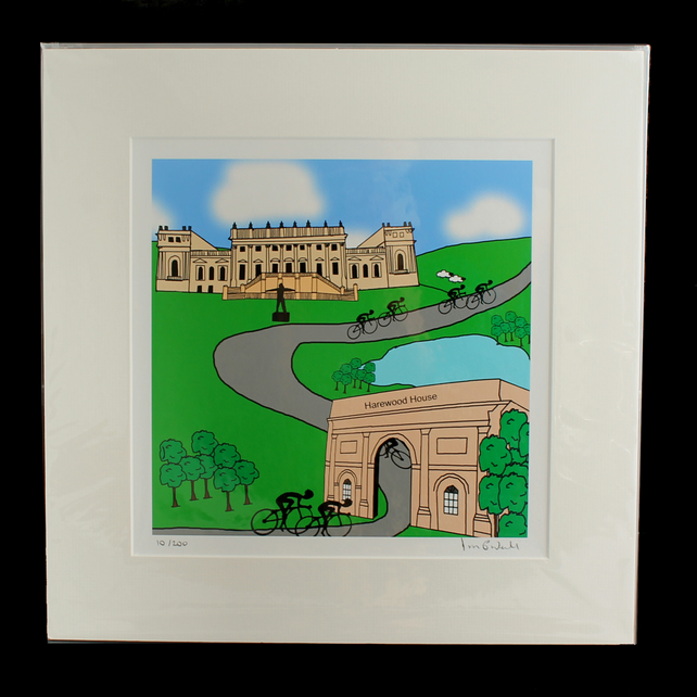 Harewood House cyclists print - inspired by Tour de Yorkshire - France