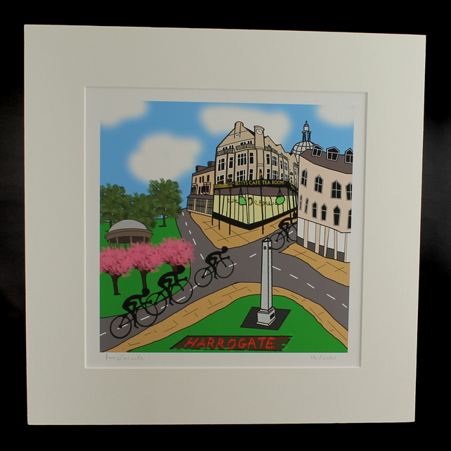 Harrogate cyclists print - inspired by Tour de Yorkshire - France