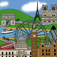 London - Paris bike ride personalised print