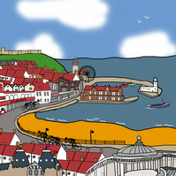 Scarborough limited edition cyclist print