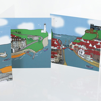 Yorkshire Coast Tour de Yorkshire Greeting cards - set of four