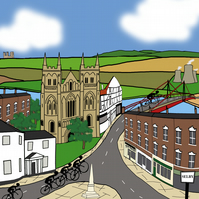 Selby cycling print inspired by Tour de Yorkshire