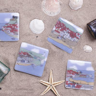 Set of four seaside coasters