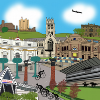Doncaster cycling print - Tour de Yorkshire 2016