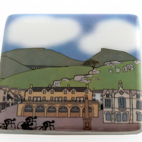 Glass coaster featuring Settle