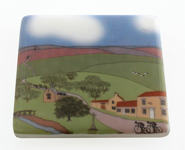 Hutton-le-Hole Yorkshire Moors glass coaster Tour de Yorkshire 2016