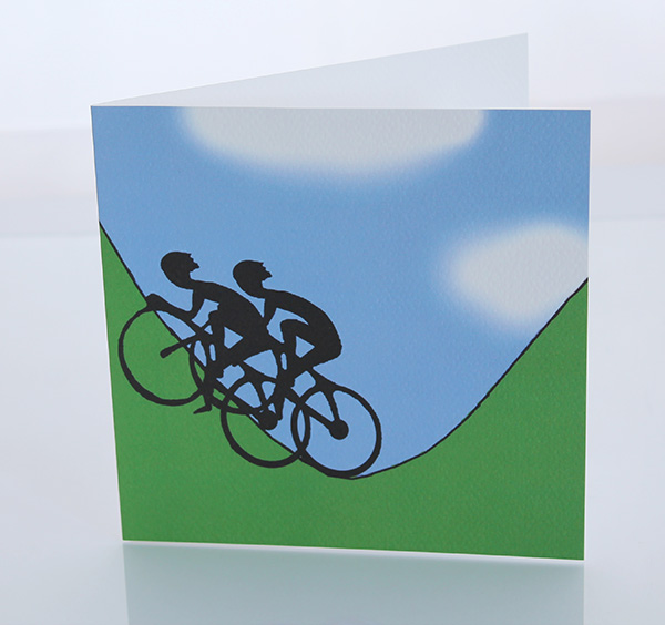 Two cyclist greeting card