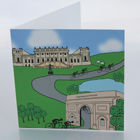 Harewood House cyclist greeting card