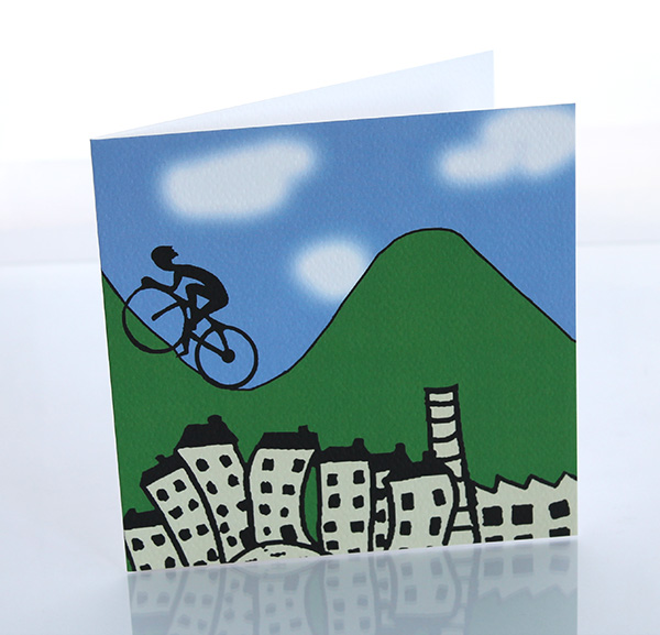 Pennine cyclist greeting card