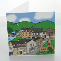 Bakewell cyclist greeting card