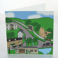 Tissington cyclist greeting card