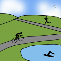 Limited edition triathlon print celebrating the World Triathlon coming to Leeds