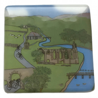 Bolton Abbey Tour de Yorkshire handmade glass coaster