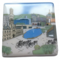 Bradford glass coaster celebrating Tour de Yorkshire