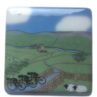 Cote de Lofthouse women's cycling race glass coaster