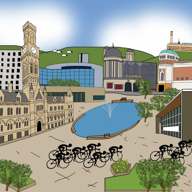 Bradford Tour de Yorkshire cycling print
