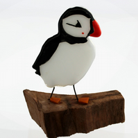 Fused glass puffin