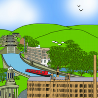 Saltaire and Leeds Liverpool Canal limited edition print
