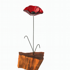 Red fused glass poppy