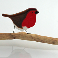 Fused glass robin