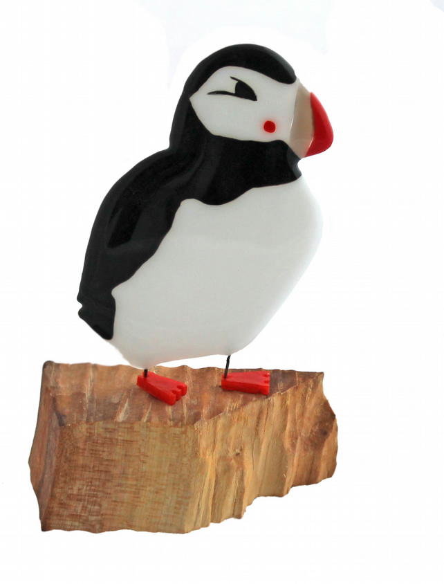 Large fused glass puffin