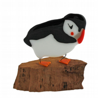 Large puffin made of glass