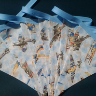Vintage Bi Planes and Spitfire Bunting, Plane Spotter's Treat, Man Cave, Display