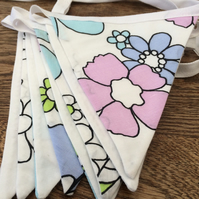 Retro Floral Bunting, Pink & Blue Flowers Fabric SALE Handmade