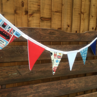 London Bunting, with Famous British UK Icons in Red, White and Blue