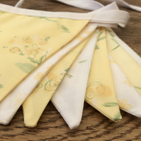 Lemon Floral Bunting, with Vintage Fabrics in Lemon, Green and White, Summer Fun