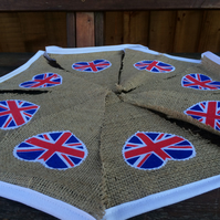 Hessian Bunting with Union Jack Heart, Wedding, Party, Great Britain Celebration