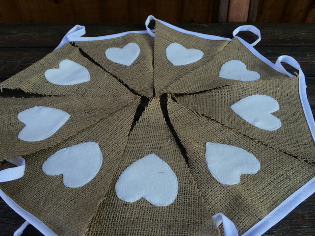 Hessian Bunting, with White Felt Heart, Party, Wedding, Christmas, 2.5 metres