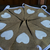 Hessian Bunting, Rustic with White Heart Detail, for Weddings, Christmas