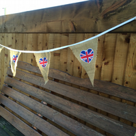 Hessian Bunting with Union Jack Flag Heart, Wedding, Party, Christmas