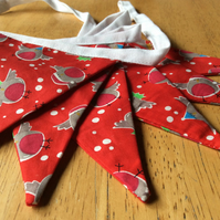Christmas Robins Bunting, Fabric Garland, Party Decoration