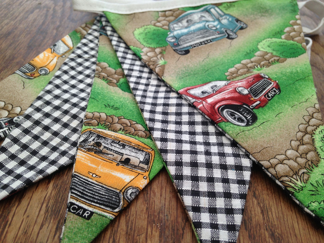 Bunting, Vintage British Mini Classic Car , Retro for Man Cave, Workshop, Rally